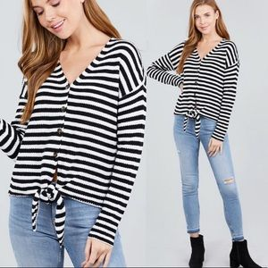 Autumn Striped Sweater Button up